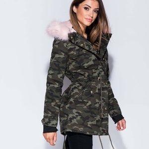 Jackets & Blazers - Ladies Pink Fur Trim Khaki Camouflage Jacket